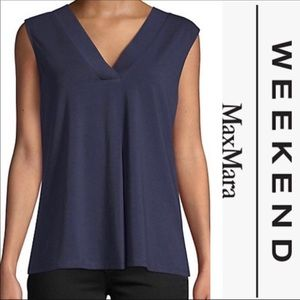 NWT WEEKEND MAX MARA V-Neck Sleeveless Top - Navy